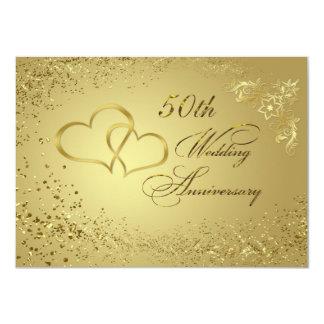 Invitation d'anniversaire de mariage des coeurs 50