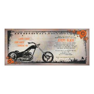 Invitation d'anniversaire de motard ou de moto carton d'invitation  10,16 cm x 23,49 cm