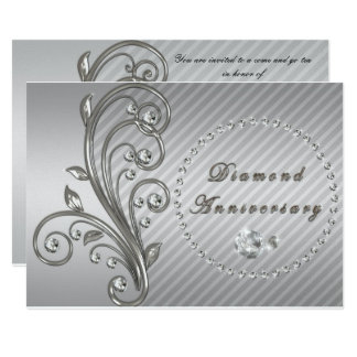Invitation d'anniversaire de noces de diamant