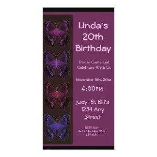 Invitation d'anniversaire de papillon photocarte personnalisée