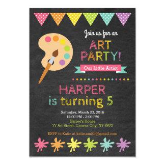 Invitation d'anniversaire de partie d'art