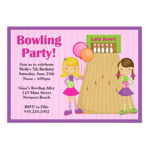 Invitation d'anniversaire de partie de bowling pou