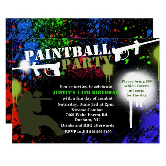 Invitation D Anniversaire De Partie De Paintball
