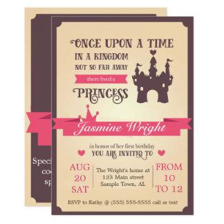 Invitation d'anniversaire de princesse conte de