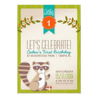 Invitation d'anniversaire de raton laveur de