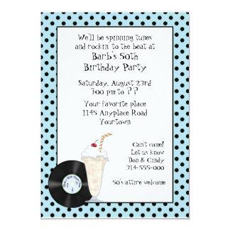invitation d'anniversaire de rock des années 50 carton d'invitation  12,7 cm x 17,78 cm