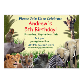 Invitation d'anniversaire de safari, invitation de