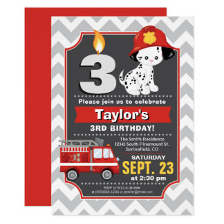 Invitation d'anniversaire de sapeur-pompier