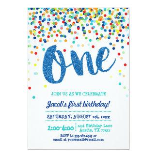 Invitation d'anniversaire de scintillement bleu de