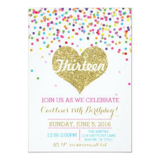 Invitation d'anniversaire de scintillement d'or de