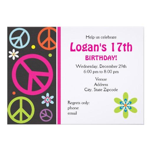 invitation d 39 anniversaire de signe de paix ado carton d 39 invitation 12 7 cm x 17 78 cm zazzle. Black Bedroom Furniture Sets. Home Design Ideas