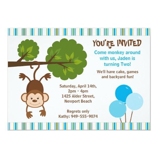 Invitation d'anniversaire de singe avec