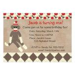 Invitation d'anniversaire de singe de chaussette