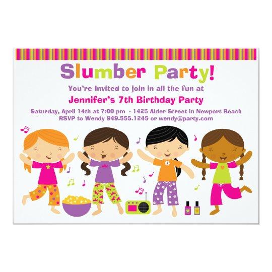 Invitation d'anniversaire de soirée pyjamas | Zazzle