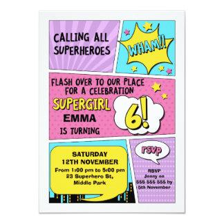 Invitation d'anniversaire de super héros de filles