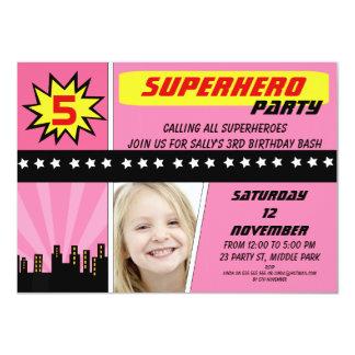 Invitation d'anniversaire de super héros de photo carton d'invitation  11,43 cm x 15,87 cm
