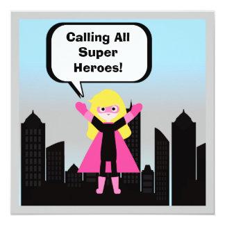 Invitation d'anniversaire de superhéros de fille
