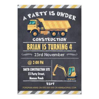 Invitation d'anniversaire de tableau de camion de