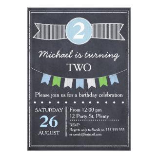 Invitation d'anniversaire de tableau de garçons