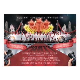 Invitation d'anniversaire de tapis rouge