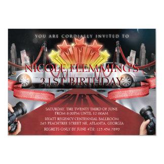 Invitation d'anniversaire de tapis rouge carton d'invitation  11,43 cm x 15,87 cm