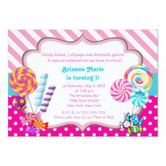 Invitation d'anniversaire de thème de sucrerie de