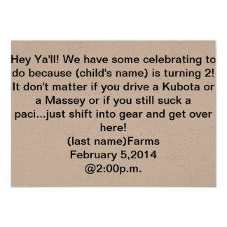 invitation d'anniversaire de thème de tracteur
