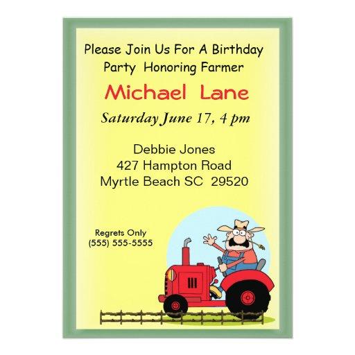 Invitation d'anniversaire de tracteur d'enfants