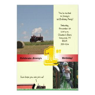 Invitation d'anniversaire de tracteur : Tracteur Carton D'invitation 12,7 Cm X 17,78 Cm