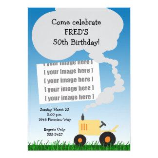 Invitation d'anniversaire de tracteur : Tracteur j