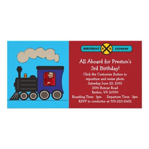Invitation d'anniversaire de train de photo modèle pour photocarte