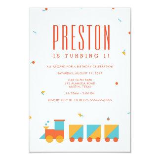 Invitation d'anniversaire de train de Tangram