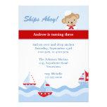 Invitation d'anniversaire de voilier et de singe