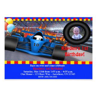 Invitation d'anniversaire de voiture de course