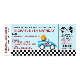 Invitation d'anniversaire de voiture de course carton d'invitation  10,16 cm x 23,49 cm