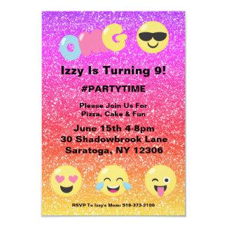 Invitation d'anniversaire d'Emoji de scintillement