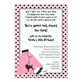 Invitation d'anniversaire des années 50 de roche carton d'invitation  12,7 cm x 17,78 cm