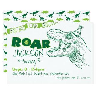 Invitation d'anniversaire d'hurlement de dinosaure