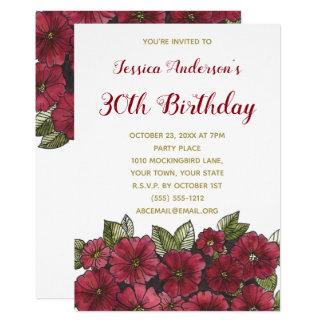 Invitation d'anniversaire d'or trentième floraux