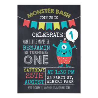 Invitation d'anniversaire du monstre 1sr de