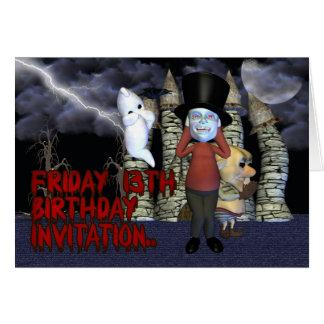 Invitation d'anniversaire du vendredi 13, fantôme carte de vœux