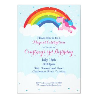 Invitation d'arc-en-ciel de licorne