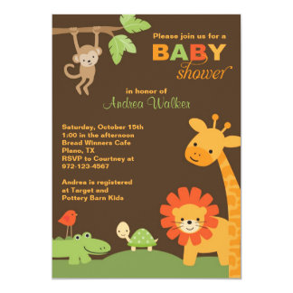 Invitation de baby shower d'animaux de jungle