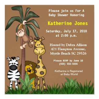 Invitation de baby shower d'animaux de jungle