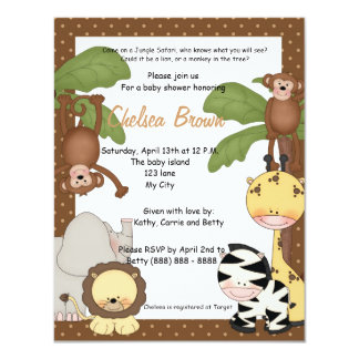 Invitation de baby shower d'anniversaire de safari