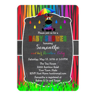 Invitation de baby shower d'arc-en-ciel de zèbre