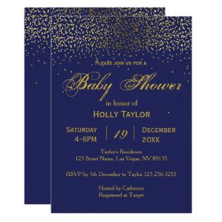 Invitation de baby shower de bleu royal et d'or