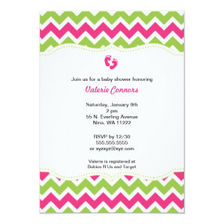 Invitation de baby shower de Chevron de vert et de