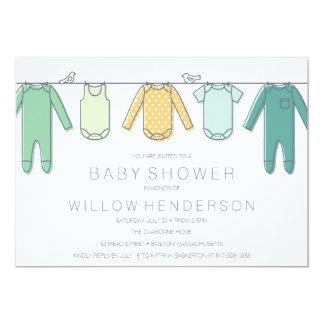 Invitation de baby shower de corde à linge