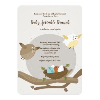 Invitation de baby shower de famille d'oiseau